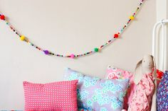 Multicolor beads / pompoms garland - 4.5 ft - colorful wall decoration kids and babies room on Etsy, $13.00