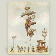 Fun Indie Art from BoomBoomPrints.com! https://www.boomboomprints.com/Product/EricFan/A_Day_at_the_Fair/Art_Prints/8x10_Print/