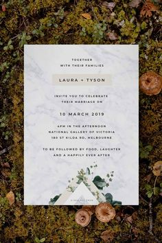 Modern botanical Wedding Invitation by Sail and Swan Studio. The design features native greenery, wild green leaves in modern layout and design.