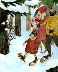 ~Winter~ As seen in Taproot Magazine, By Phoebe Wahl. I love the style of her art and i especially love these images! Art And Illustration, Gravure Illustration, Naive Art, Winter Art, Beatrix Potter, Christmas Art, Illustrators, Folk Art, Sketches