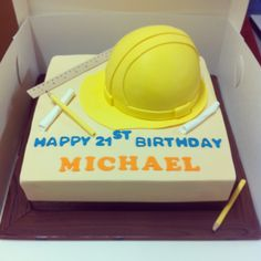Hard Hat 21st Birthday Cake - Cookies and Cream mud with Oreo buttercream by Sweet Palate