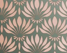 """STENCIL for Walls - Art DECO Pattern """"Fan Flowers"""" - Large Allover Wall Stencil - Reusable, Easy DIY Home Decor"""