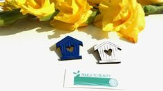 Wooden Birdhouse Brooch available in blue and by BoughtoBeauty, £12.50