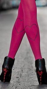 Heart Print Tights Pink & Grey - Fashion Print Tights - TrendyLegs