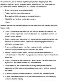 Objective On Resume Resume Objective Statement For Customer Service  Resume