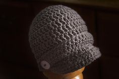 6707c448 Baby Beanie Crochet Pattern, Crochet Hat With Brim, Crochet Newsboy Hat,  Beanie Pattern