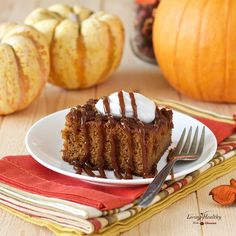 Moist Caramel Pumpkin Cake topped with homemade caramel sauce (Paleo, Vegan, gluten-free, grain-free, dairy-free, and refined sugar-free) by #LivingHealthyWithChocolate