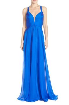 Abbi Vonn Illusion Neck Chiffon Gown available at #Nordstrom