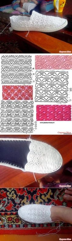 Discover thousands of images about Crochet Leather Heels Free Pattern - DIY Ways Refashion Heels Instructions Crochet Diy, Crochet Motifs, Crochet Woman, Irish Crochet, Crochet Stitches, Crochet Sandals, Crochet Boots, Crochet Slippers, Crochet Clothes