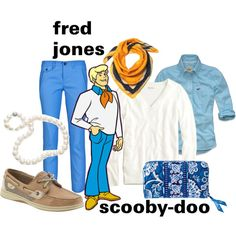 A fashion look from July 2012 featuring cashmere sweater, button up shirts and slim fit pants. Browse and shop related looks. Scooby Doo Halloween Costumes, Halloween Inspo, Halloween 2015, Lazy Day Outfits, Cool Outfits, Scooby Doo Mystery Incorporated, White Shirt And Blue Jeans, Disney Inspired Outfits, Fandom Fashion