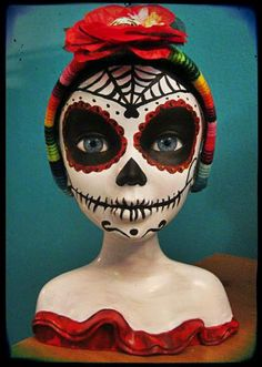Barbie de los Muertos! I bought this doll bust from a thrift store and used acrylic paint to turn her into a Day of the Dead darling.