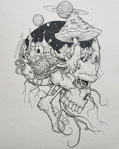 Pin by rock neptune on to do çizimler, çizim fikirleri, sana Tattoo Design Drawings, Cool Art Drawings, Art Drawings Sketches, Drawing Ideas, Unique Drawings, Ink Illustrations, Sketch Drawing, Skull Sketch, Sketch Ink