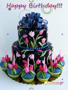 Beautiful tulip cake and cupcakes. Great for a special birthday party or celebration! Gorgeous Cakes, Pretty Cakes, Cute Cakes, Yummy Cakes, Amazing Cakes, Tulip Cake, Floral Cake, Deco Cupcake, Cupcake Cakes
