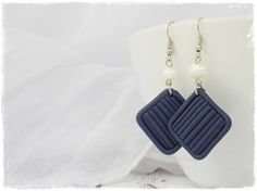 Long Nautical Earrings, Blue Pearl Earrings, Square Geometric Earrings, Modern Jewels, Polymer Clay Earrings, Nautical Wedding Earrings