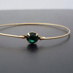 Green Bangle Bracelet Helena by FrostedWillow on Etsy