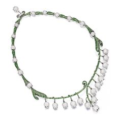 18 KARAT GOLD, TSAVORITE GARNET AND DIAMOND 'LILY OF THE VALLEY' NECKLACE, MICHELE DELLA VALLE