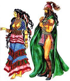 женский и мужской костюм древнего Крита