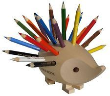 This looks like it could hurt but so what!  Hedgehog wooden natural with pencils stand holder koh-i-noor czech 9960MN0001KK