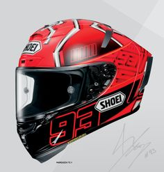 Shoei X-Fourteen Racing Helmet. This one is the Marc Marquez version.