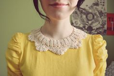 DIY detachable doily collar... I swear an oath to NEVER dress my kids up in things like doilys or fru fru, poofy & overly ruffled things. Especially boys... those poor little fellas! lol
