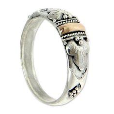Handmade Silver and 18k Gold Ring - Frangipani Aura   NOVICA