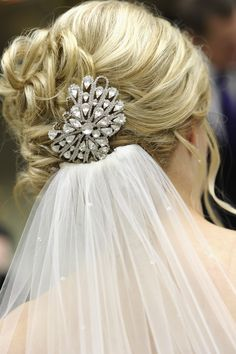 Vintage brooch as a hairpiece.