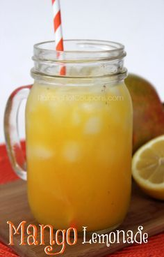 Looks yummy! signature drink for the first new house party?? Mango Lemonade add vodka