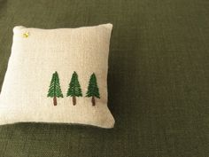 Pine Trees Hand Embroidered