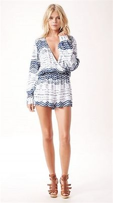 Blue Life - Boho Romper - This deep v boho romper can be worn with flip flops on a hot summer day, or paired with a wedge for a sexy night look.