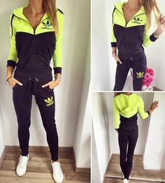 Bright green and black set , zip and hoodie  top