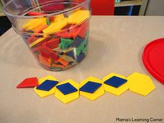 Printable Learning Activities for Preschoolers - Q-tip painting, pattern block patterns, shape sorting, and more!