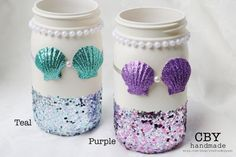 Mermaid Birthday Party Mason Jar Centerpieces are perfect for a mermaid theme b… Little Mermaid Centerpieces, Mermaid Party Decorations, Birthday Party Centerpieces, Mason Jar Centerpieces, Shower Centerpieces, Mermaid Crafts, Mermaid Diy, Baby Mermaid, Mermaid Glass