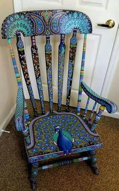 21 Best Peacock Chair is part of Hand painted chairs - The cheerful variety of ontrend pieces will make it simple for customers to infuse the ideal color into any home decor Painted Rocking Chairs, Hand Painted Chairs, Funky Painted Furniture, Paint Furniture, Upcycled Furniture, Furniture Makeover, Cool Furniture, Painted Tables, Furniture Design