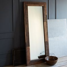 Lovely large #floor #mirror . I'm not really sure how these stay upright and unbroken in earthquake land; I suspect this is why I didn't remember seeing many unmounted mirrors growing up. But I love the look and the light it can bring in.