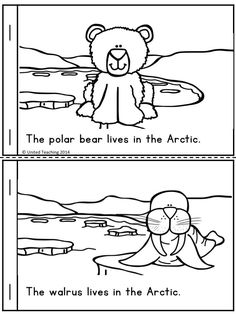Who Lives in the Arctic? Free Emergent Reader >> Great as an addition to a unit on Arctic animals animals silly animals animal mashups animal printables majestic animals animals and pets funny hilarious animal Kindergarten Science, Kindergarten Reading, Kindergarten Centers, Artic Animals, Arctic Animals For Kids, Penguins And Polar Bears, Animal Activities, Winter Activities, Animal Habitats