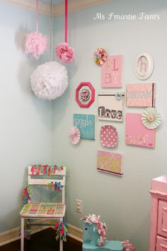 Nursery Decor: Bright & Colorful Baby Girl Nursery Wall Display/Gallery