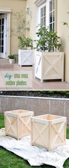 Cute Criss Cross Planters for Your Porch. Make Cute Criss Cross Planters for Your Porch. Make Cute Criss Cross Planters for Your Porch. Outdoor Projects, Home Projects, Garden Projects, Outdoor Planters, Outdoor Decor, Pallet Planters, Outdoor Bedroom, Rustic Planters, Wood Planter Box