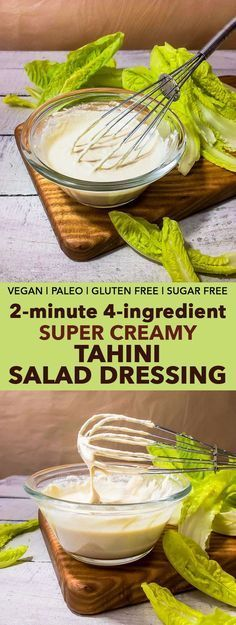 2-Minute 4-Ingredient Super Creamy Tahini Salad Dressing – This healthy super creamy tahini salad dressing requires only 4 ingredients, and is vegan, paleo, gluten free and refined sugar free. Read this post to learn the TRICK that makes this (extremely reliable!) tahini salad dressing recipe different from all the others out there.