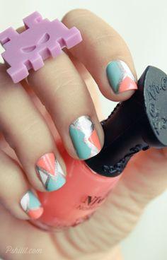 geometric pastel nails