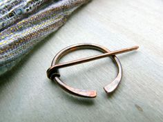 Object: Antiqued Copper Penannular Brooch Viking Pin by AdornWireStudio