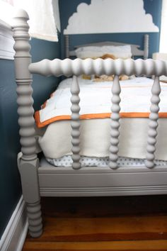This bed was painted with chalk paint and then waxed, making a silky matte finish.