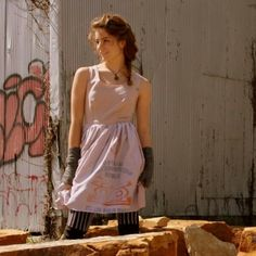 Stylish and funky dress made from upcycled Ghanan flour sacks.