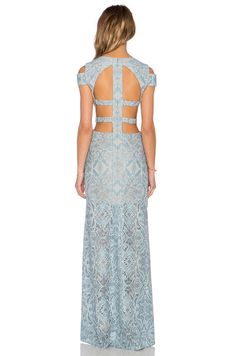 BCBGMAXAZRIA Ava Cut Out Gown in Blue Frost Combo | REVOLVE