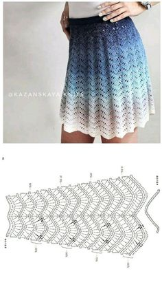 Crochet Fabric , Crochet - Ganchillo - P - Diy Crafts Circle Skirt Pattern, Skirt Pattern Free, Crochet Skirt Pattern, Crochet Skirts, Crochet Fabric, Crochet Stitches Patterns, Crochet Motif, Crochet Clothes, Crochet Lace