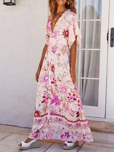 Elegant V Neck Bell Sleeve High-Waist Printed Color Dress Modest Maxi Dress, Boho Floral Maxi Dress, Maxi Dresses, Long Summer Dresses, Summer Maxi, Dress Outfits, Dresser, Streetwear, Elegant