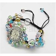 Fashion Glass Watch Shamballa Bracelets(X-BJEW-N151-9)