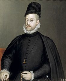 """Philip II was King of Spain from 1556 and of Portugal from 1581 (as Philip I).  From 1554 he was King of Naples and Sicily as well as Duke of Milan. During his marriage to Queen Mary I he was also King of England and Ireland.From 1555, he was lord of the Seventeen Provinces of the Netherlands. Known in Spanish as """"Philip the Prudent,""""  his empire included territories on every continent then known to Europeans.  During his reign, Spain reached the height of its influence and power."""