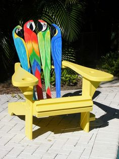 Custom Made Adirondack Chair - Parrot Design by Island Time Design