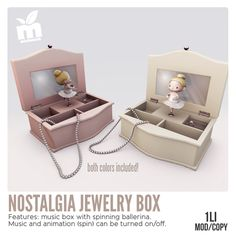 *MishMish* ▲ Nostalgia Jewelry Box  ▲Both Colors Included ▲ Features music box with spinning ballerina▲  Music and animation (spin) can be turned off▲   88L for both