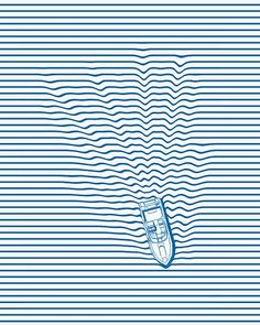 This piece of art is mainly constructed of straight lines, but as the boat passes the lines zig zag a bit  to create a realistic view of the  water's movement... I really love the way it looks!!   Sophia ART 6